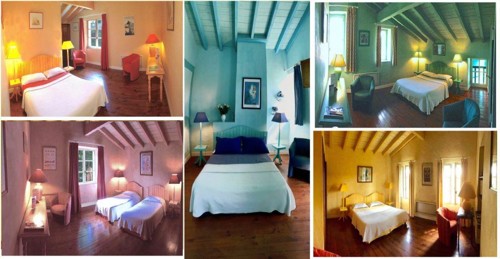 Grille de photo des chambres avec les différents thématique de couleur Abricot, Vert, Bleu, Rose, Jaune